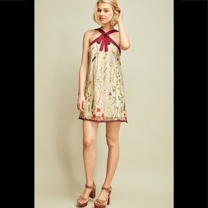 Entro Embroidered Halter Style Shift Dress